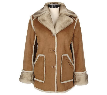 Dennis Basso Reversible/ Washable Faux Shearling NotchCollarCoat