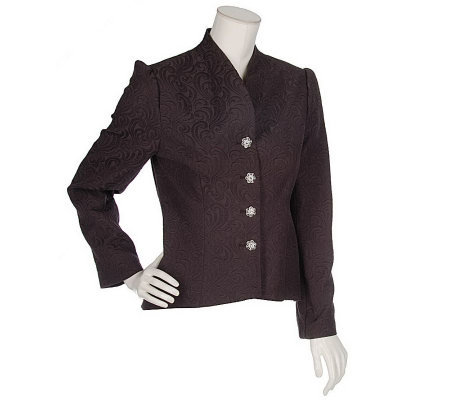 Erika Kline Fully Lined Brocade Jacket with Rhinestone Buttons