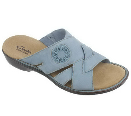 Clarks Bendables Ina Flame Nubuck Leather Embossed Slides