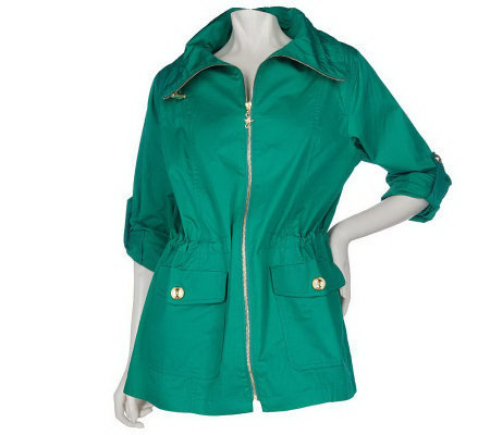 Susan Graver Cotton Anorak Jacket with Roll Tab Sleeves