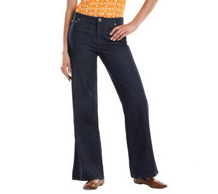 Isaac Mizrahi Live! 5-Pocket Fly Font Wide Leg Denim Pants