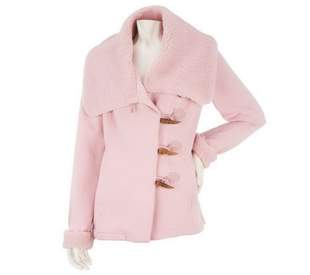 Liz Claiborne New York Faux Shearling Jacket with Toggles