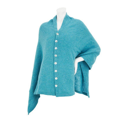Irish Convertible Poncho with Button Detail