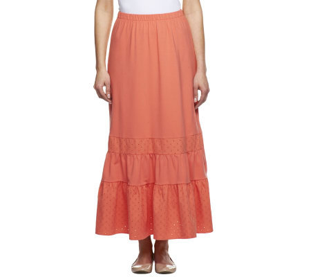 Liz Claiborne New York Eyelet Trimmed Knit Maxi Skirt
