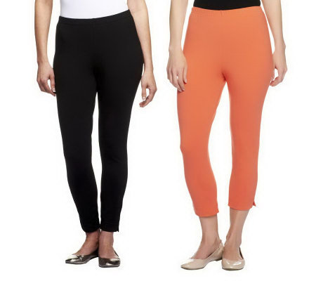 Women with Control Set of 2 Crop Pants & Ankle Leggings