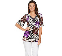 Susan Graver Printed Liquid Knit Short Sleeve Peasant Top - A233709