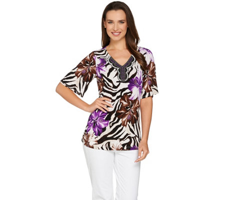 Susan Graver Printed Liquid Knit Short Sleeve Peasant Top
