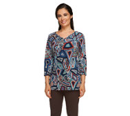 Attitudes by Renee 3/4 Sleeve Printed V-Neck Tunic
