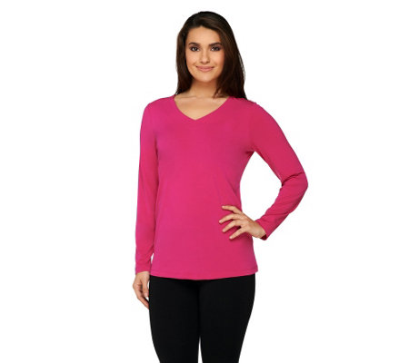 Susan Graver Essentials Liquid Knit Long Sleeve V-Neck Top