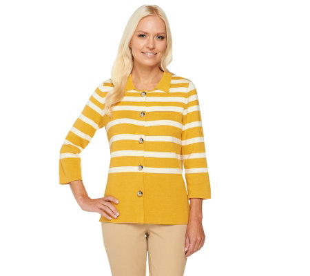 Liz Claiborne New York 3/4 Sleeve Striped Knit Sweater