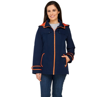 Susan Graver Zip Front Jacket with Hood and Contrast Trim