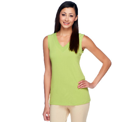 Susan Graver Liquid Knit V-Neck Tank Top