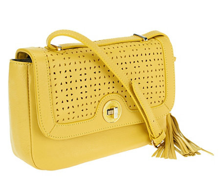 Isaac Mizrahi Live! Bridgehampton Perforated Leather Bag