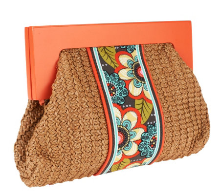Vera Bradley Straw Clutch with Magnetic Closure