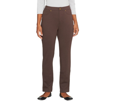 Liz Claiborne New York Petite Ponte Knit Slim Leg Pants