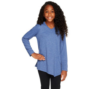 LOGO Littles by Lori Goldstein French Terry Top with Asymmetric Hem - A257809