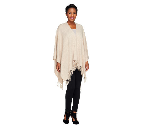 Isaac Mizrahi Live! 2-Ply Cashmere Shawl with Fringe Detail