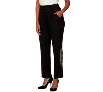 LOGO by Lori Goldstein Pants with Bead Accent and Pockets - A258809