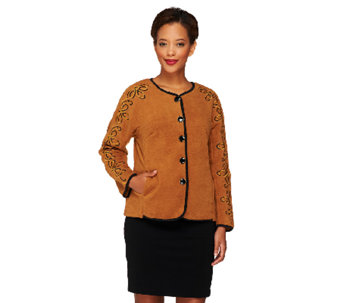 Bob Mackie's Button Front Fleece Jacket with Sleeve Embroidery - A259409
