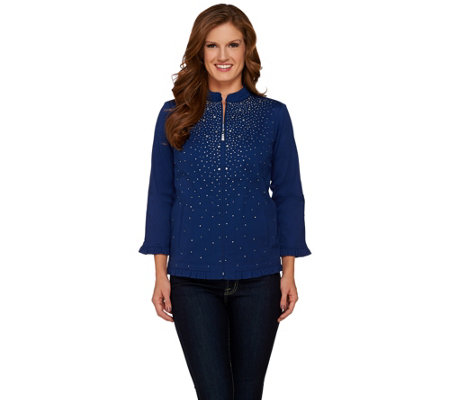 Quacker Factory Sparkle & Shine Stretch Twill Jacket with Ruffle