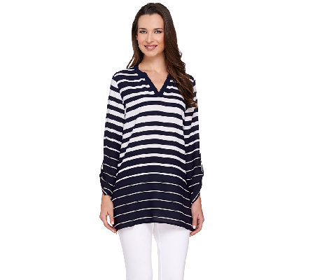 Susan Graver Striped Woven V-Neck Tunic
