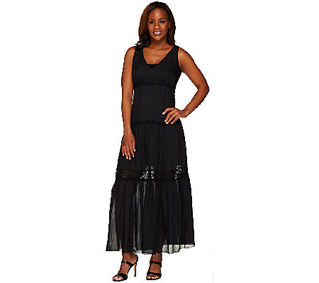 G.I.L.I. Regular Silk Tiered Lace Trim Maxi Dress