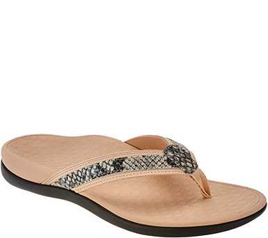 Vionic Orthotic Leather Thong Sandals - Tide Snake - A264909