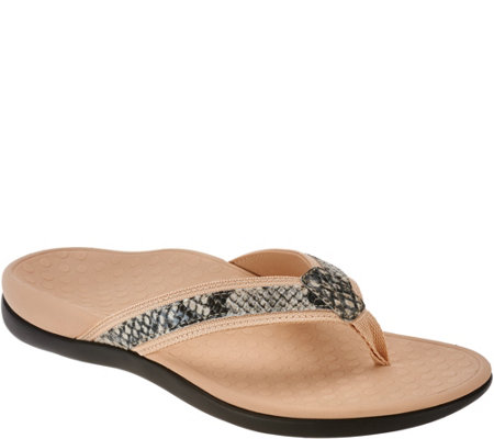 Vionic Orthotic Leather Thong Sandals - Tide Snake