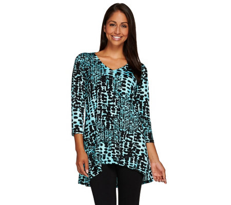 Linea by Louis Dell'Olio Printed Asymmetrical Hem Tunic Top