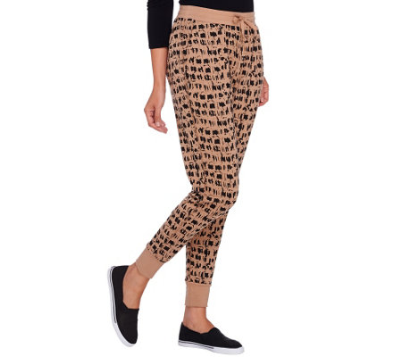 Lisa Rinna Collection Drawstring Printed Knit Pants