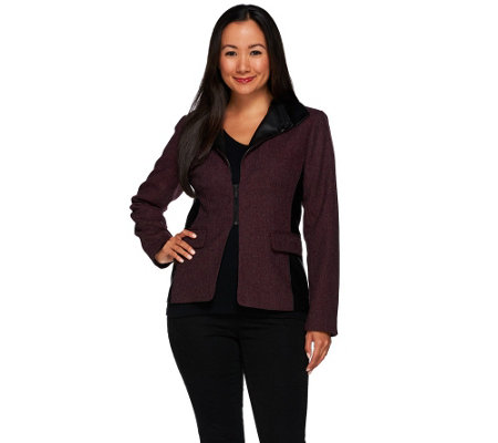 G.I.L.I. Zip Lapel Tweed Blazer with Faux Leather Detail