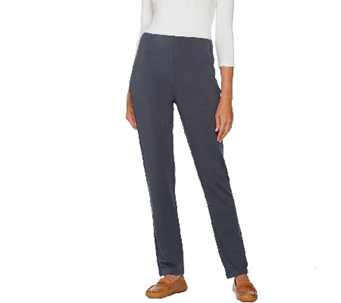 Susan Graver Weekend Brushed Back Knit Pants with Hollywood Waist - A269309