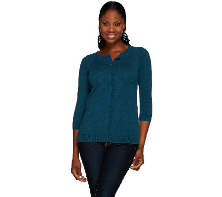 H by Halston Silk-Cashmere Blend Crew Neck Button Front Cardigan