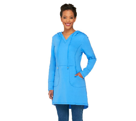 """As Is"" Denim & Co. Active Regular French Terry Tunic with Hood"