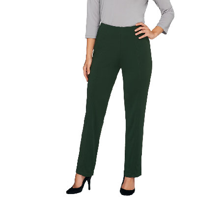 """As Is"" Susan Graver Premier Knit Straight Leg Ankle Pants -Petite"