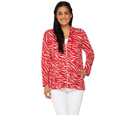 """As Is"" Susan Graver Printed French Terry Zip Front Long Sleeve Jacket"