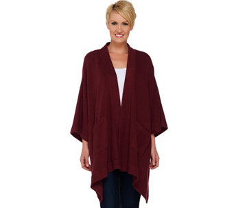Denim & Co. Open Front Solid Poncho with Pockets - A271409