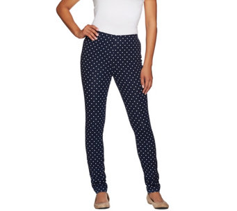 Susan Graver Weekend Printed Stretch Cotton Leggings - A273509