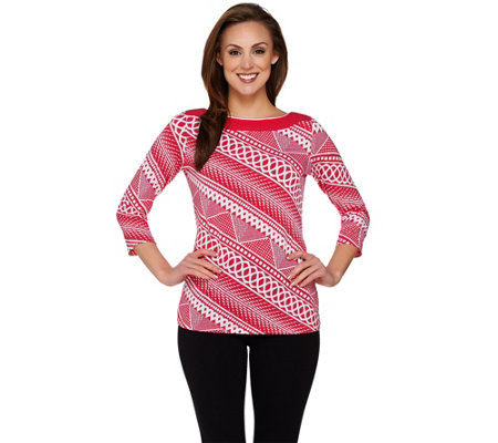 Susan Graver Printed Liquid Knit 3/4 Sleeve Bateau Neck Top