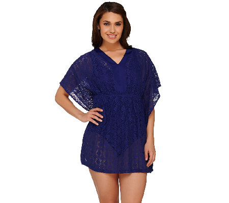 """As Is"" Denim & Co. Beach Mesh Lace Butterfly Sleeve Tunic Cover-Up"