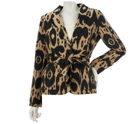 """As Is"" Isaac Mizrahi Live! Ikat Jacquard Shawl Collar Blazer"