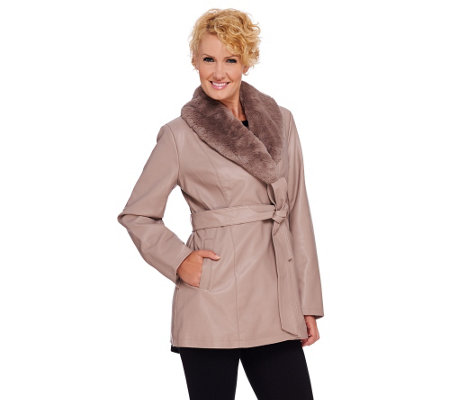 """As Is"" Dennis Basso Faux Leather Coat w/ Removable Faux Fur Collar"