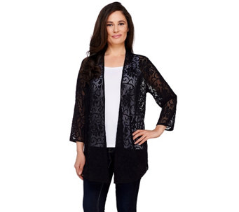 """As Is"" Joan Rivers Sheer Patterned Waterfall Cardigan - A277909"