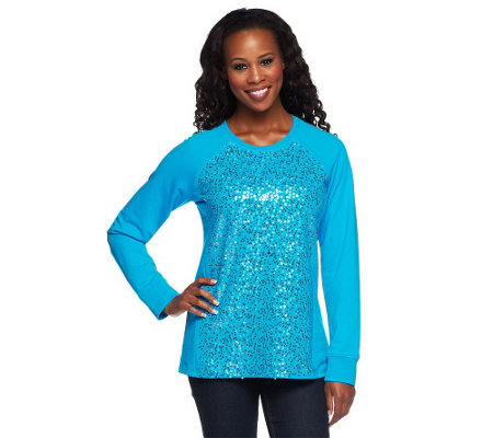 """As Is"" Quacker Factory Sparkle Sequin Sweatshirt Top"