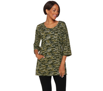 Denim & Co. Active Camo Printed Scoop Neck 3/4 Sleeve Tunic - A279909