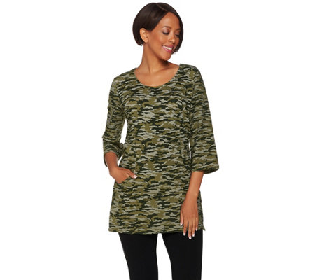 Denim & Co. Active Camo Printed Scoop Neck 3/4 Sleeve Tunic