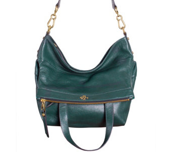 """As Is"" orYANY Pebble Leather Convertible Satchel - Lynn - A280509"