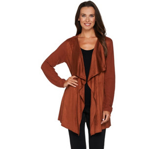Joan Rivers Faux Suede Front Popcorn Knit Cardigan - A280809