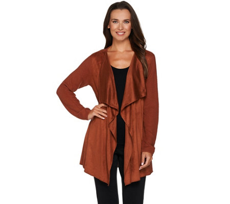 Joan Rivers Faux Suede Front Popcorn Knit Cardigan