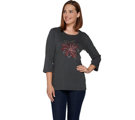Quacker Factory Rhinestone Poinsettia 3/4 Sleeve T-shirt